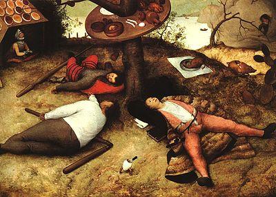 "Pieter Bruegel il Vecchio, ""Paese della cuccagna"" (Luilekkerland), olio su tavola, 1567."